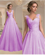 Womens Elegant Formal Flower Embroidered Dress Evening Gown Plus Size S-5xl