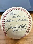 Jack Baker 2 Signed Autographed Babe Ruth Baseball Red Sox