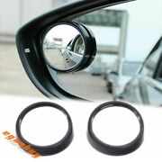 2x Round Stick On Rearview Wide Angle Blind Spot Mirrors For Car Truck Suv Black