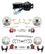 1959-1964 Impala Front/ Rear Disc Brake Kit Black Oval Master Kit And Red Calipers