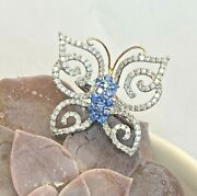 Ladyand039s Diamond And Blue Sapphire Big Butterfly Cocktail Ring 18ktwg