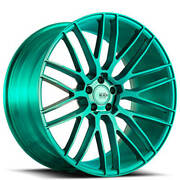 4 22 Savini Wheels Black Di Forza Bm13 Custom Brushed Teal Rims B8