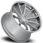 4 22 Staggered Blaque Diamond Wheels Bd-23 Silver With Chrome Ss Lip B3