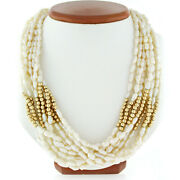 Vintage 18k Gold Clasp And 14k Beads Multi Strand 20 Freshwater Pearl Necklace