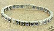 6.05 Ct 14k Solid White Gold Antique Style Natural Diamond And Sapphire Bracelet