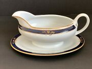 Arabia Finland White Cobalt Blue And Gold Sauce Boat Mark Dating 1949-1964