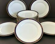 Arabia Finland White Cobalt Blue And Gold 13 Luncheon Plates Dating 1949-1964