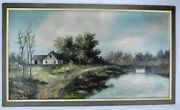 Mid 1800and039s W.d. Morrell House At The River Bank Oil On Canvas Bimk/180706