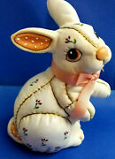 Lefton 1987 Easter Bunny Rabbit Figurine Statue White Pink Looks Like Quilted