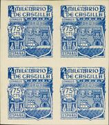 España. Mnh/mh / 982s 4 .1944. 75 Cts Blue, Block Of Four Un Stamp No F