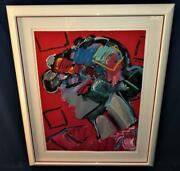 Peter Max Crimson Lady Framed Lithograph Le 215/300 Large 35 X 26 + Mat Frame