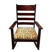 Antique Farmhouse Victorian Carved Mahogany Rocking Chair With Floral Cushion