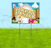 Happy Easter 18x24 Yard Sign With Stake Corrugated Bandit Usa Business Holiday