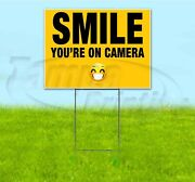 Smile Youand039re On Camera 18x24 Yard Sign With Stake Corrugated Bandit Usa Security
