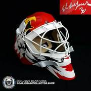 Ed Belfour Signed Goalie Mask Chicago Red Simple Eagle Classic Signature Edition