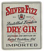 1940s Canada Vancouver Bc United Distillers Silver Fizz Export Dry Gin Label