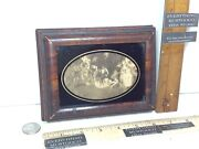 Antique Oval Victorian Cameo Scene Hinged Glass Lid Wood Cigarette Trinket Box