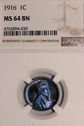 Monster Blue And Purple Toned 1916 Lincoln Cent Ngc Graded S64 Bn 4762894-030