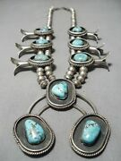 Giant Vintage Navajo Turquoise Sterling Silver Squash Blossom Necklace