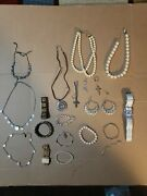 Costume Jewelry Lot Necklaces, Bracelets, Rings, White/pearl's /d And G Watch