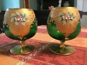 Venetian Murano Glass Cup Set Of 2andnbsp 24k Gold Leaf In Green Free Shipping