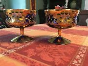 Venetian Murano Glass Cup Set Of 6 With Bowl 24k Gold Leaf In Blue Free Ship
