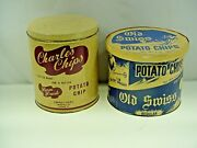 Vintage Potato Chip Tin Advertising Old Swiss And Charles Chips -2 Different Tins
