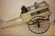 Antique Rare German Thuringia Wooden Childs Milk Wagon Toy Cart Pull Toy