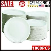Round Paper Plates 9 Inch White Party Bbq Lightweight Tableware Picnic 1000 Ct
