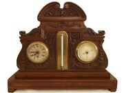 1880 English Victorian Carved Walnut Mantel Barometer Clock Dring And Fage London
