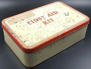 Vintage Tin First Aid Case With Contents Of Bandages C 1960and039s For Display Only