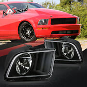 Black Housing Clear Corner Turn Signal Headlight Lamps For 05-09 Ford Mustang