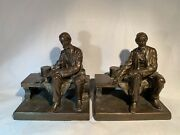 Antique President Abraham Lincoln Sitting On Bench Bronze Bookends Ronson