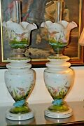 Stunning Pair Of Very Rare Giant Victorian Banquet Oil Lamp