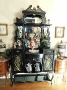 Large Or Stately Victorian Ebonized Carved Etagere With Beveled Mirrors 88 High