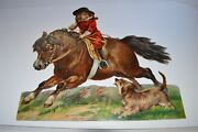 Fabulous Victorian Girl Riding Pony Horse And Dog Lithographed Die Cut 13 By 12