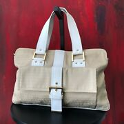 Fendi Zucca Canvas Handbag With Ivory Leather Handle And Trim Made In Italy