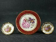 3 Vintage Limoges France Courting Couples Miniature Gold Trim Plates With Stands