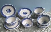 Vintage Buffalo China Blue Willow Restaurantware Cups And Saucers 6 Pc Set
