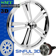 Smt Machining Sinful 3d Chrome Front Wheel Harley Touring Bagger 21