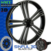 Smt Machining Sinful 3d Black Cut Front Wheel Harley Touring Bagger 21