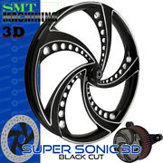 Smt Machining Super Sonic 3d Black Cut Front Wheel Harley Touring Bagger 21