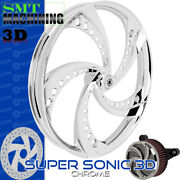 Smt Machining Super Sonic 3d Chrome Front Wheel Harley Touring Bagger 21