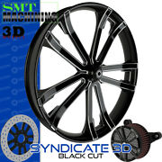 Smt Machining Syndicate 3d Black Cut Front Wheel Harley Touring Bagger 21