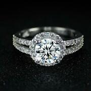 2ct Round Cut White Diamond Halo Split Shank Engagement Ring 925 Sterling Silver