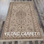 Yilong 5and039x8and039 Silk Handmade Rug Traditional Indoor Floral Carpet Zw062m