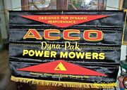 Rare Vintage Silk Advertising Banner Acco American Chain Cable Co Power Mowers