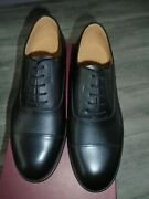 Raf Mens Black Leather Service Shoes Size 10l Wide Width Fitting New