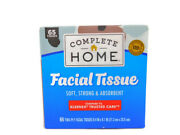 New Complete Home Facial Tissue Box 65 Two Ply Facial Sheets Absorbent Strong