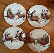 Set Of 4williams Sonomasanta And His Reindeer Christmas Plates 20118.25 Plate